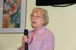 Club member, Phyllis McGrath, expresses displeasure of Clairemont residents regarding an attempt by developers to rezone an area of Clairemont near Genesee and Balboa Avenues - right across the street from residences - to allow for a drive-through restaurant open until 1:30 a.m. Check out www.careaboutclairemont.com to hear more about it with a short video.